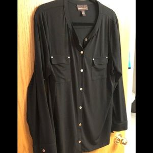 Black Dana Buckman top with gold buttons  xLg